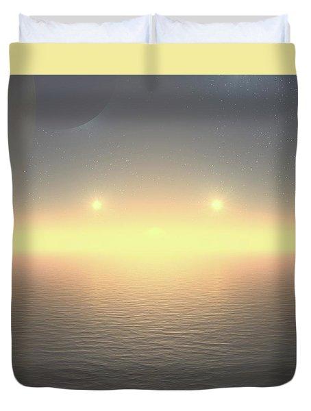 Duvet Cover featuring the digital art Flat Lights by Robert Thalmeier