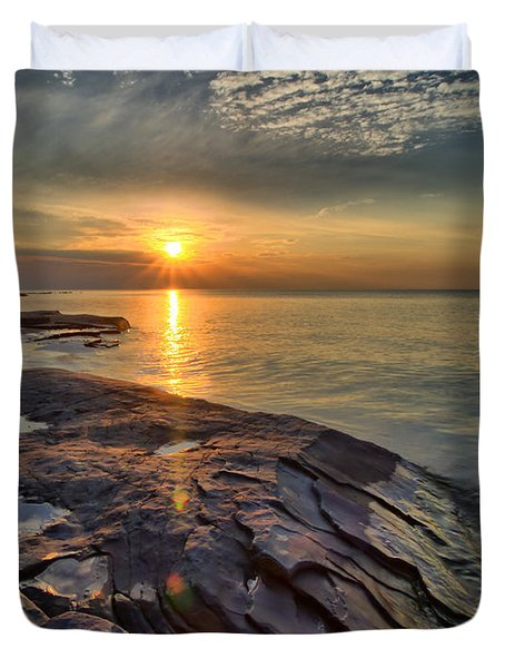 Flat Rock Sunset Duvet Cover