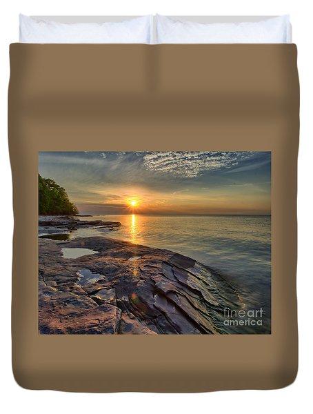 Flat Rock Sunset Duvet Cover