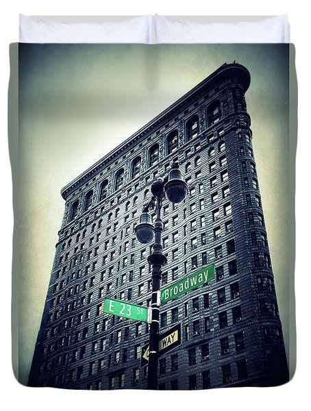 Duvet Cover featuring the photograph Flatiron Directions by Jessica Jenney