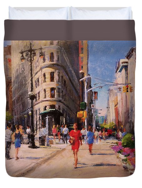 Flatiron Plaza, Summer Morning Duvet Cover