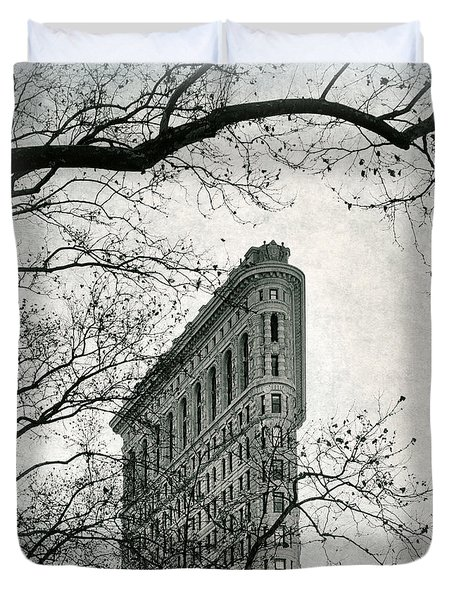 Duvet Cover featuring the photograph Flatiron Vintage by Jessica Jenney