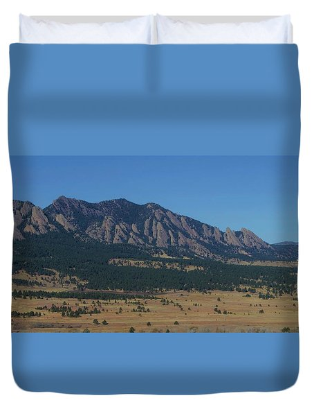 Duvet Cover featuring the photograph Flatirons Of Boulder by Christopher Kirby