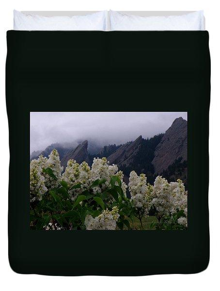 Flatirons White Lilacs Duvet Cover