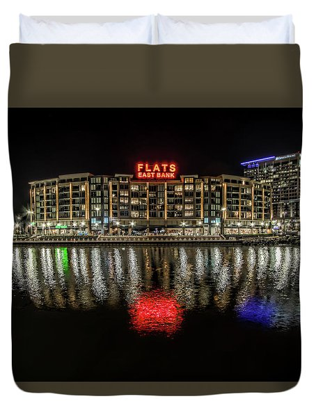 Duvet Cover featuring the photograph Flats East Bank by Brent Durken