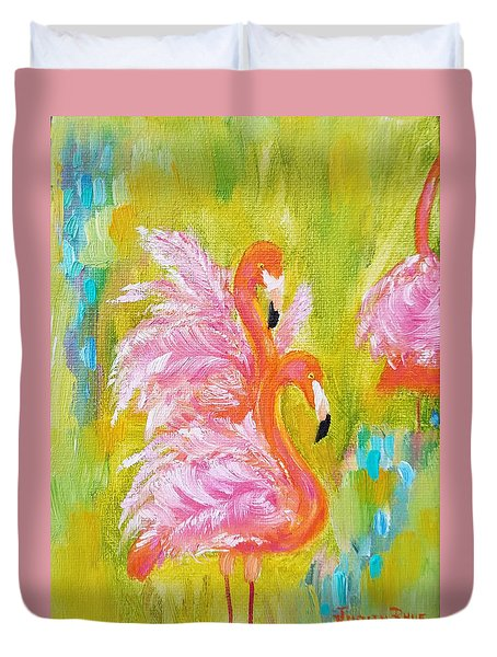 Duvet Cover featuring the painting Flaunting Feathers by Judith Rhue