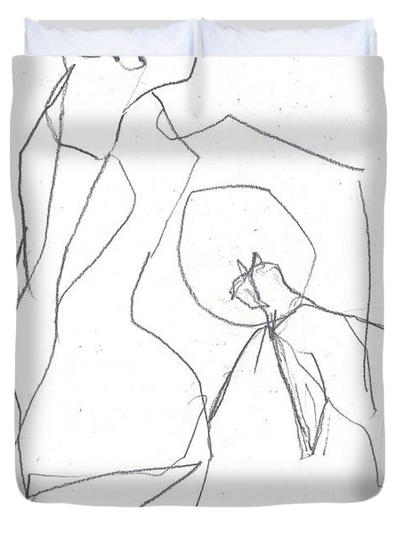 Fleeing Woman Duvet Cover