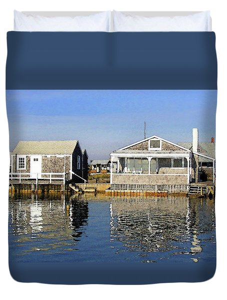 Duvet Cover featuring the photograph Fletchers Camp And The Little House Sandy Neck by Charles Harden