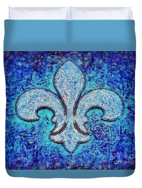 Fleur De Lis Blue Ice Duvet Cover by Janine Riley