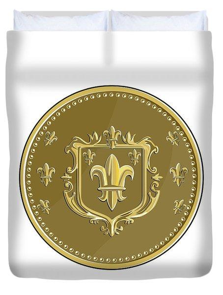 Fleur De Lis Coat Of Arms Gold Coin Retro Duvet Cover