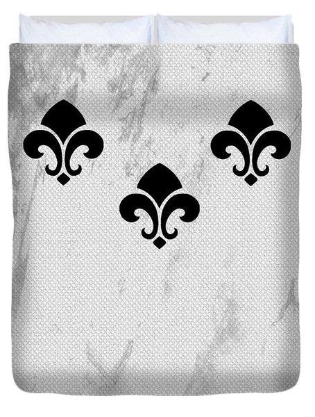 Fleur De Lis In Gray Duvet Cover