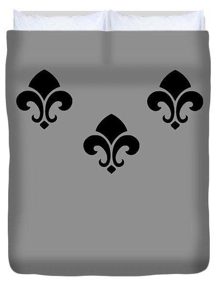 Fleur De Lis In Silver Duvet Cover