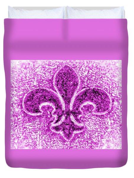 Fleur De Lis Purple Diamond Duvet Cover by Janine Riley