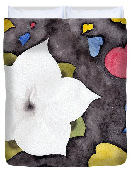 Duvet Cover featuring the painting Fleur Et Coeurs by Marc Philippe Joly