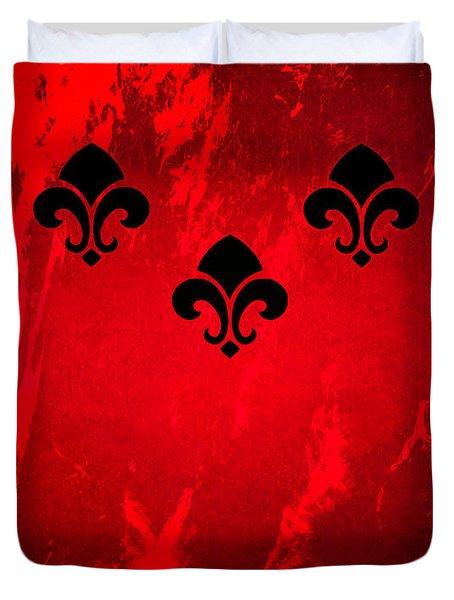 Fleur De Lis In Red Duvet Cover
