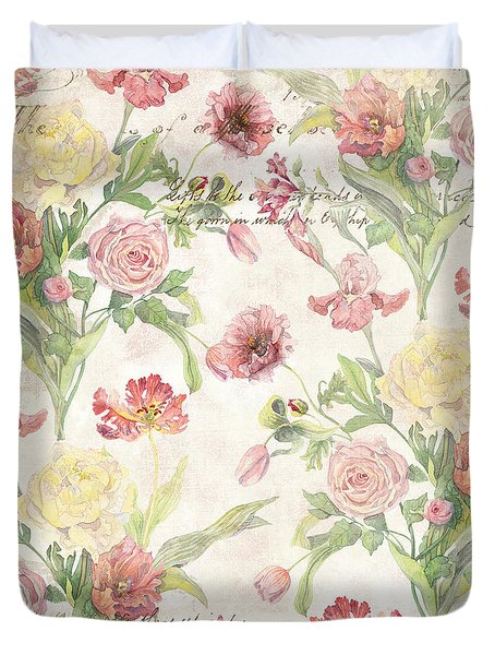 Fleurs De Pivoine - Watercolor In A French Vintage Wallpaper Style Duvet Cover