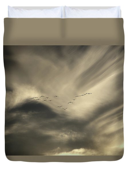 Duvet Cover featuring the photograph Flight 016 Westbound by Robert Geary