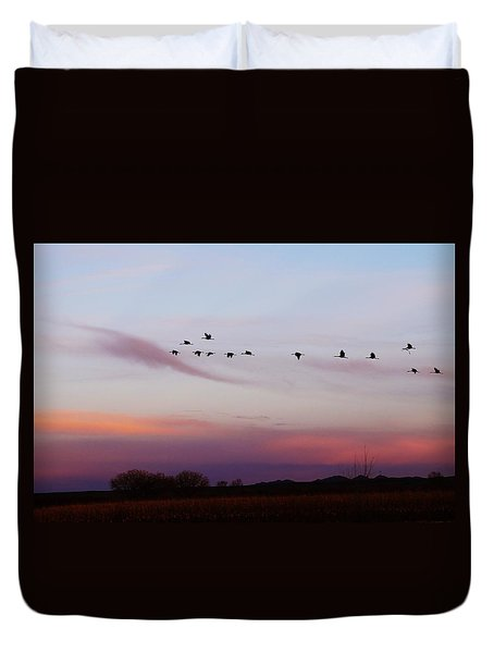 Flight At Dusk At The Bosque Duvet Cover