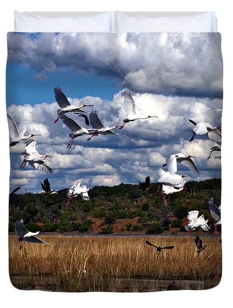 Duvet Cover featuring the photograph Flight by Karen Zuk Rosenblatt