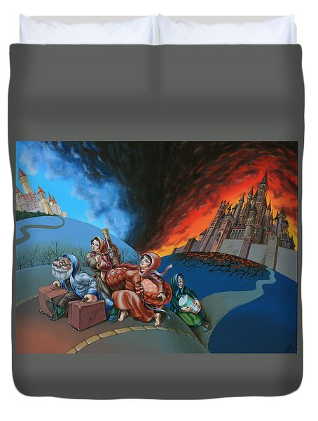 Flight Of Lot Out From Sodom Duvet Cover