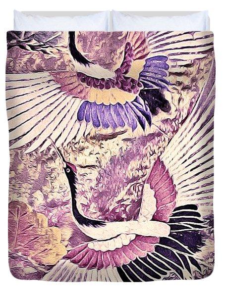 Flight Of Lovers - Kimono Series Duvet Cover