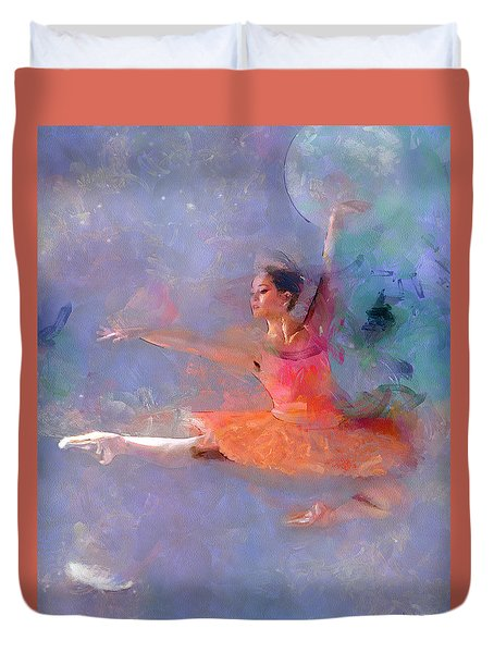Duvet Cover featuring the photograph Flight Of The Ballerina by Wayne Pascall