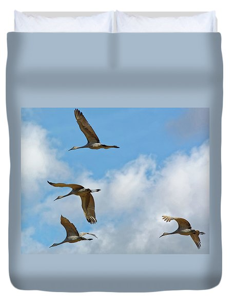 Flight Of The Cranes Duvet Cover