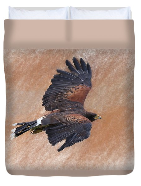 Flight Of The Harris Hawk Duvet Cover