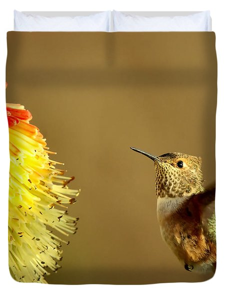 Flight Of The Hummer Duvet Cover by Mike  Dawson