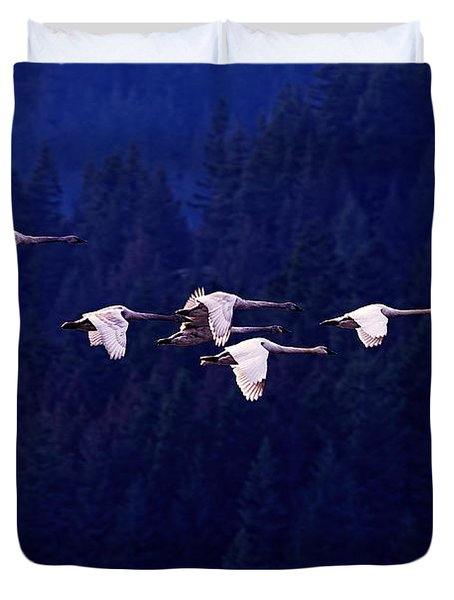 Flight Of The Swans Duvet Cover by Sharon Talson