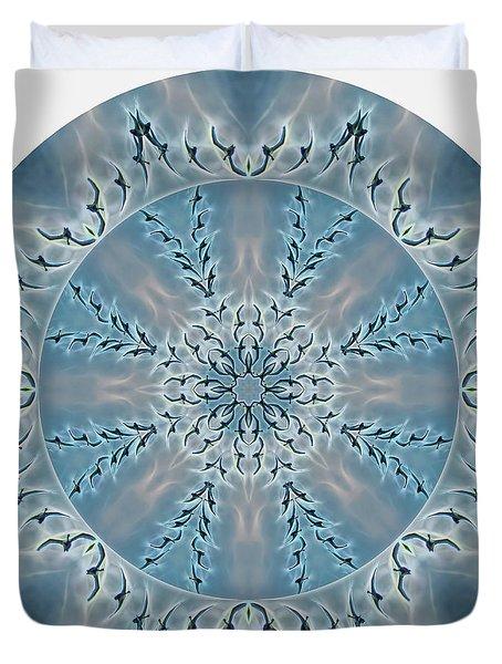 Flight Of The Tundra Swan Mandala Duvet Cover