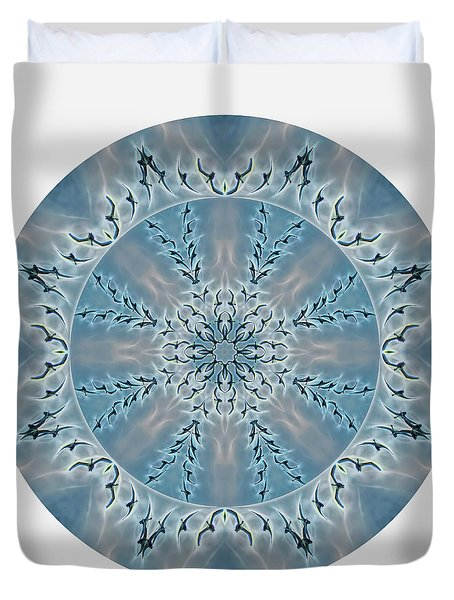 Flight Of The Tundra Swan Mandala Duvet Cover