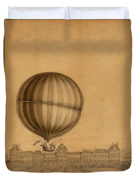 Flight Over Paris Duvet Cover