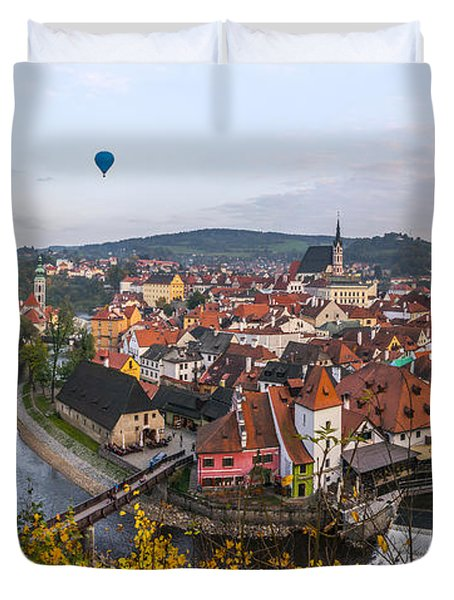 Flight Over The Medieval Town Duvet Cover by Dmytro Korol