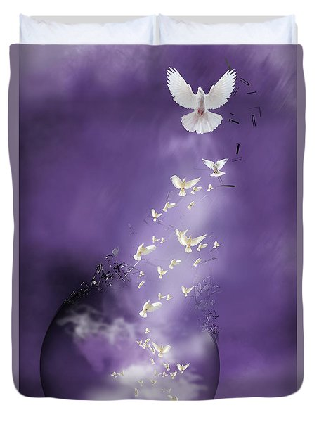 Duvet Cover featuring the mixed media Flight To Freedom by Jim  Hatch