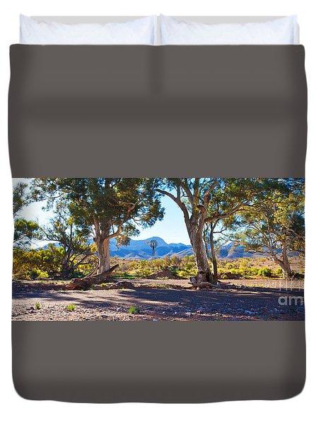 Flinders Ranges Windmill Duvet Cover by Bill  Robinson
