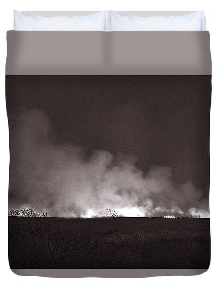Flint Hills Fire In Monochrome Duvet Cover