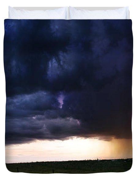 Flint Hills Storm Panorama  Duvet Cover