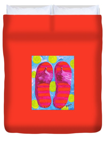 Duvet Cover featuring the painting Flip Flops  by Eloise Schneider