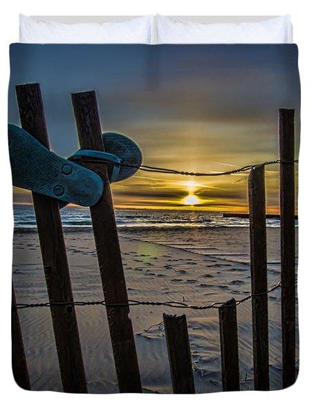 Flip Flops On A Beach At Sun Rise Duvet Cover