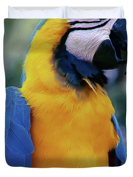 Flirtacious Macaw Duvet Cover by DigiArt Diaries by Vicky B Fuller