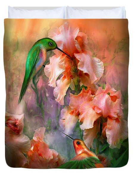 Duvet Cover featuring the mixed media Flirting So Sweetly by Carol Cavalaris