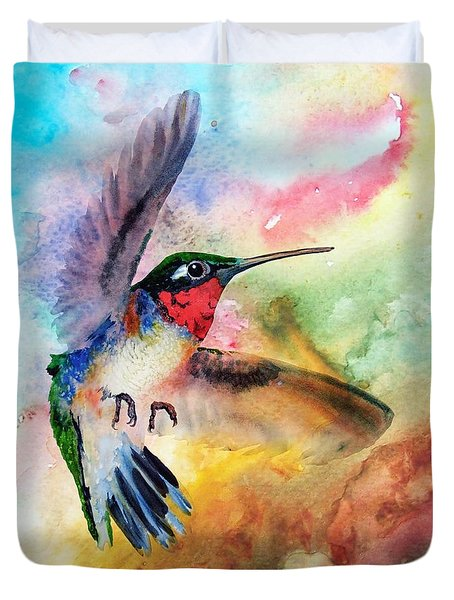 Da198 Flit The Hummingbird By Daniel Adams Duvet Cover