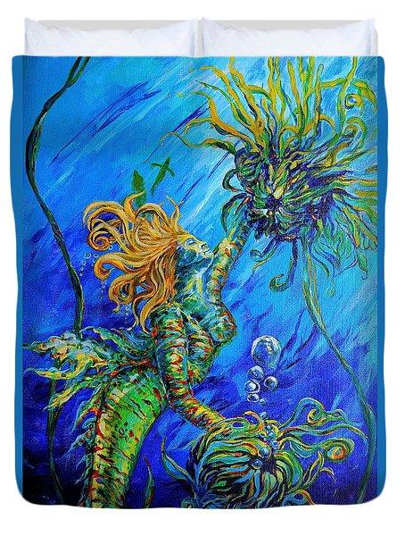 Floating Blond Mermaid Duvet Cover