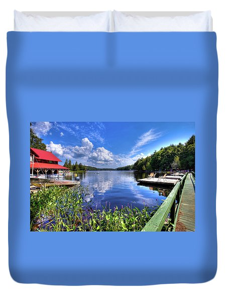Duvet Cover featuring the photograph Floating Bridge At Covewood by David Patterson