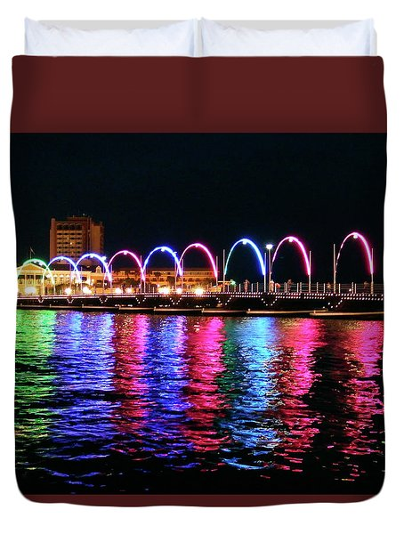 Duvet Cover featuring the photograph Floating Bridge, Willemstad, Curacao by Kurt Van Wagner