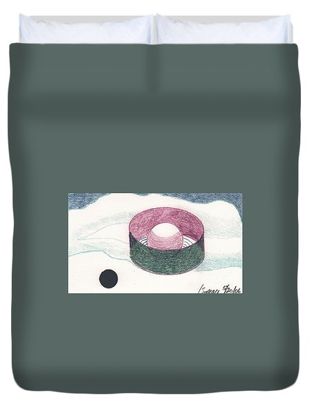 Duvet Cover featuring the drawing Floating Can With Black Sun by Rod Ismay