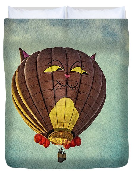 Floating Cat - Hot Air Balloon Duvet Cover by Bob Orsillo