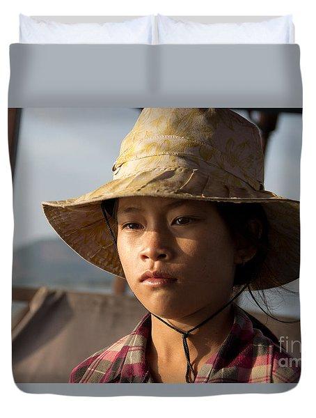 Floating Drink Seller Girl On The Tonle  Sap Lake In Cambodia Duvet Cover