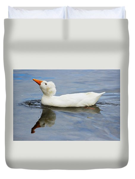 Floating Duck Duvet Cover by Jewels Blake Hamrick